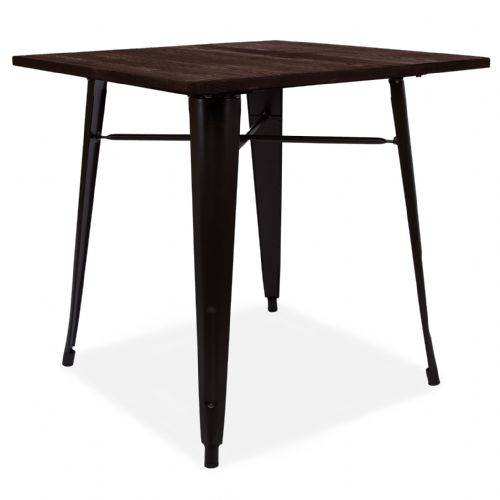 Retro Tolix Style Black Metal table With Wooden top- Black